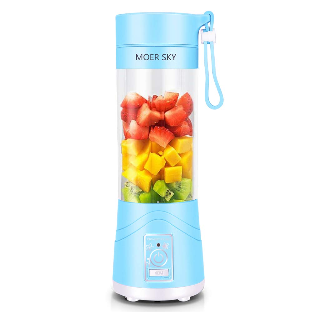 Portable Blender, Personal Smoothie Mini Mixer Juicer Cup, 380ml Fruit Mixing Machine with USB Recharging, Detachable, Office/Sports/Trip(Blue)