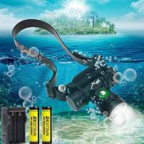 Super Bright LED Diving Headlight 2000Lumens Rechargeable Swimming Headlamp 3 Lighting Modes Headlamps IPX8 Waterproof Underwater Head Light Scuba Submarine Safety Head Lamp for Diving.