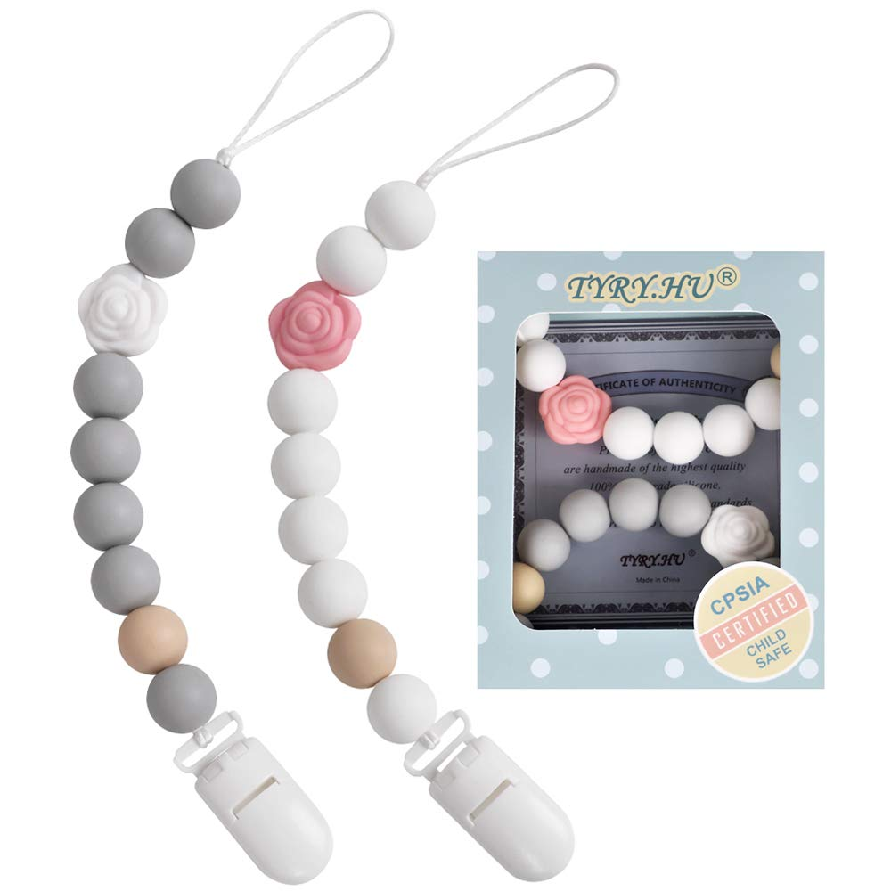 Pacifier Clip, TYRY.HU Rose Binky Holder Soothie Chain for Teething Relief Silicone Beaded Teether Toy Perfect Baby Shower Gifts for Girl or Boy (White+Grey)