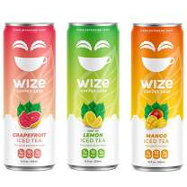 Wize Coffee Leaf Iced Tea, 3 Flavor Sample Pack with (1) Original, (1) Grapefruit, (1) Mango, Lightly Caffeinated,Barely Sweet, 10 Calories, 12 oz Cans, 3 Count