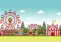 Baocicco 10x8ft Amusement Park Backdrop Photography Background Carnival Background Circus Tent Ferris Wheel Merry-Go-Round Blue Sky White Cloud Children Holiday Circus Party