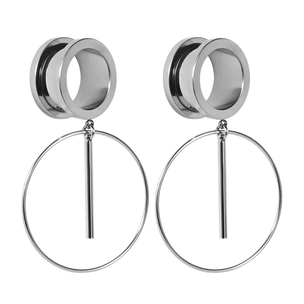 TBOSEN Hoop Silver Ear Tunnels Dangle Plugs Expander Gauges Stretcher Piercing