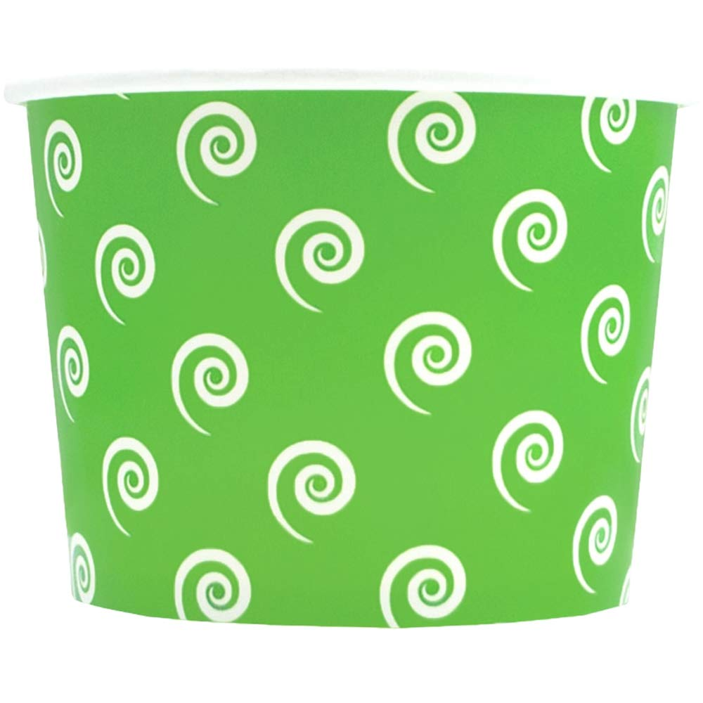 Green Paper Ice Cream Cups - 12 oz Swirls and Twirls Dessert Bowls - Perfect For Your Yummy Foods! Many Colors & Sizes - Frozen Dessert Supplies - 50 Count