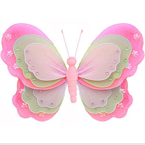 "Hanging Butterfly Medium 10"" Dark Pink Fuchsia Green Pink Triple Layered Mesh Nylon Butterflies Decorations Decorate Baby Nursery Bedroom Girls Room Ceiling Wall Decor Wedding Birthday Party Shower"