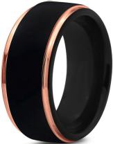 Tungsten Wedding Band Ring 10mm for Men Women Black Rose Yellow Gold Plated Step Edge Brushed Polished