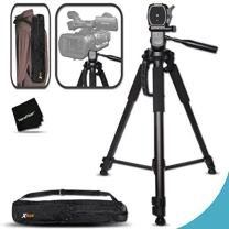 Durable Pro Grade 72 inch Full size Tripod with 3 way Pan-Head, Bubble level indicator, 3 Section Aluminum alloy lock in legs for Sony FDR-AX1, FDR-AX100, NEX-EA50UH, NEX-FS700U, NEX-FS100U, HVR-Z7U, HXR-NX70U, HVR-Z5U, HXR-NX3, PMW-EX3, PMW-EX1, PMW-F3L, PMW-300, PMW-300K1, PMW-100, PXW-Z100, HXR-MC2000U, HXR-MC1500p, HXR-MC1000p, HXR-MC50U, HXR-NX5U, HXR-NX3, HXR-NX70U, HXR-NX30U, HDR-AX2000, HDR-FX1, HDR-FX7, HDR-FX1000, HDR-CX900 Camcorders plus Convenient Backpack style Carrying Case