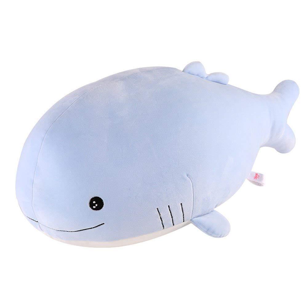 "Molizhi Soft Whale Shark Stuffed Animal, Big Hugging Plush Pillow Doll Fish Toy, Gifts for Girls, Friends, Kids, 23.6"" (Blue)"