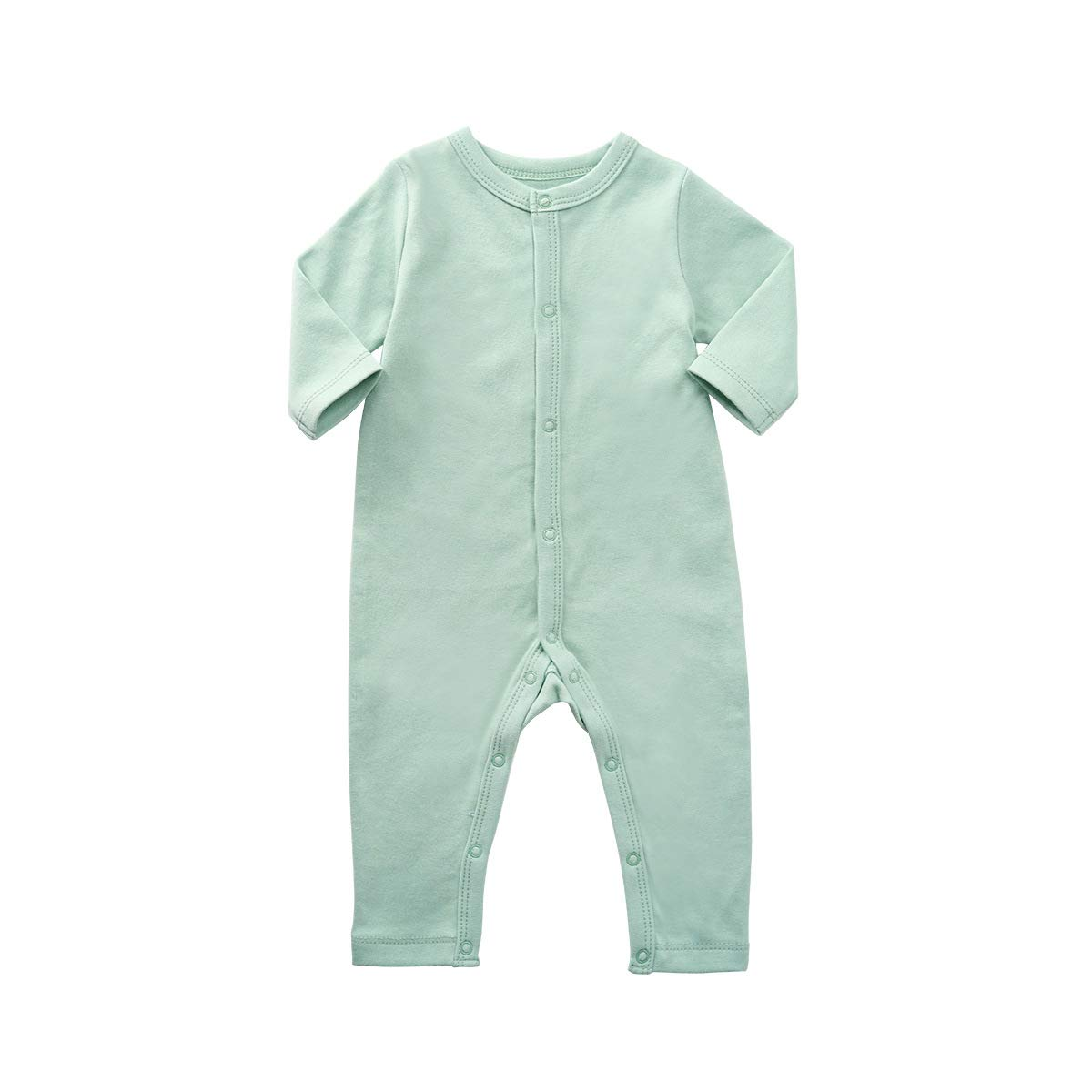 Teach Leanbh Unisex Baby Romper Coton Long Sleeve Button Down Footless Jumpsuit 0-24 Months