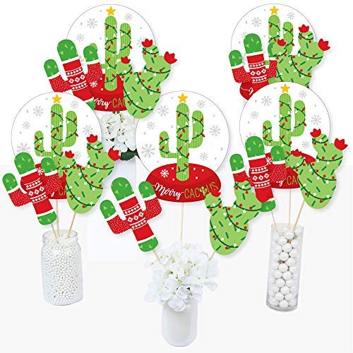 Big Dot of Happiness Merry Cactus - Christmas Cactus Party Centerpiece Sticks - Table Toppers - Set of 15