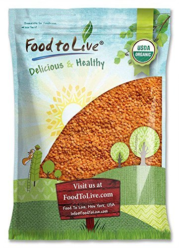 Organic Red Split Lentils by Food to Live (Dry Beans, Non-GMO, Kosher, Raw, Masoor Dal, Bulk) — 10 Pounds