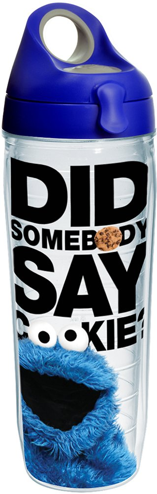 Tervis 1242381 Sesame Street - Did Somebody Say Cookie Insulated Tumbler with Wrap and Blue with Gray Lid, 24 oz Water Bottle - Tritan, Clear