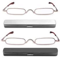 REAVEE 2 Pack Metal Slim Reading Glasses Spring Hinged Pen Readers Small Rectangular Mini Portable Tube Readers with Pen Clip Case +1.0