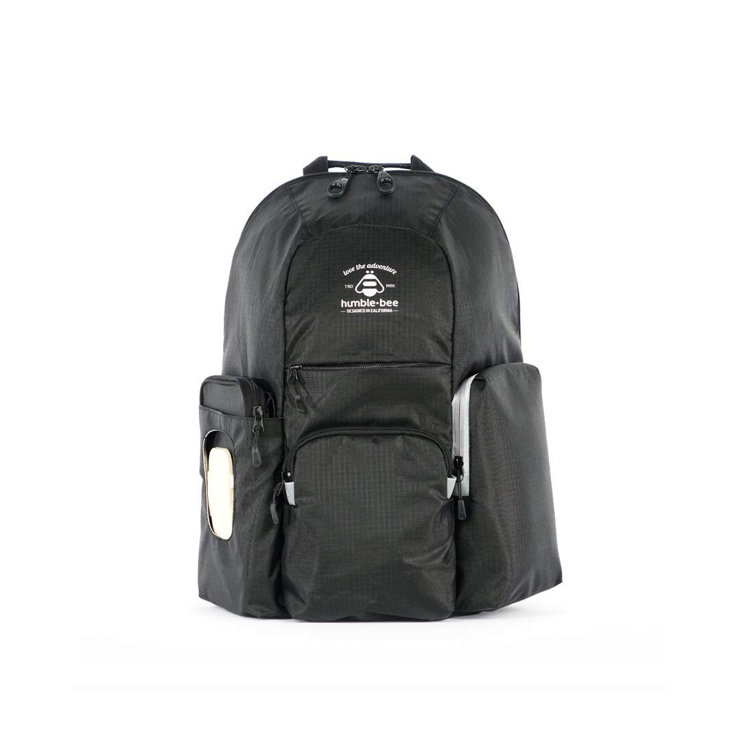Humble-Bee Free Spirit Backpack Diaper Bag - Removeable Changing Pad - Wipes Case - Durable and Stylish - Water-Repellant (Onyx)