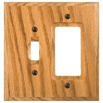 Amerelle Traditional Single Toggle/Single Rocker Wood Wallplate in Light Oak