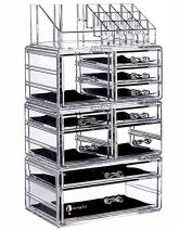 Cq acrylic Kardashian Large 5 Drawers and 9 Grid Makeup Organizer with Accessory Organizer Storage, The Top of The Almighty as a Display Face Makeup Brushes and Lipstick Holder,Clear,Pack of 1