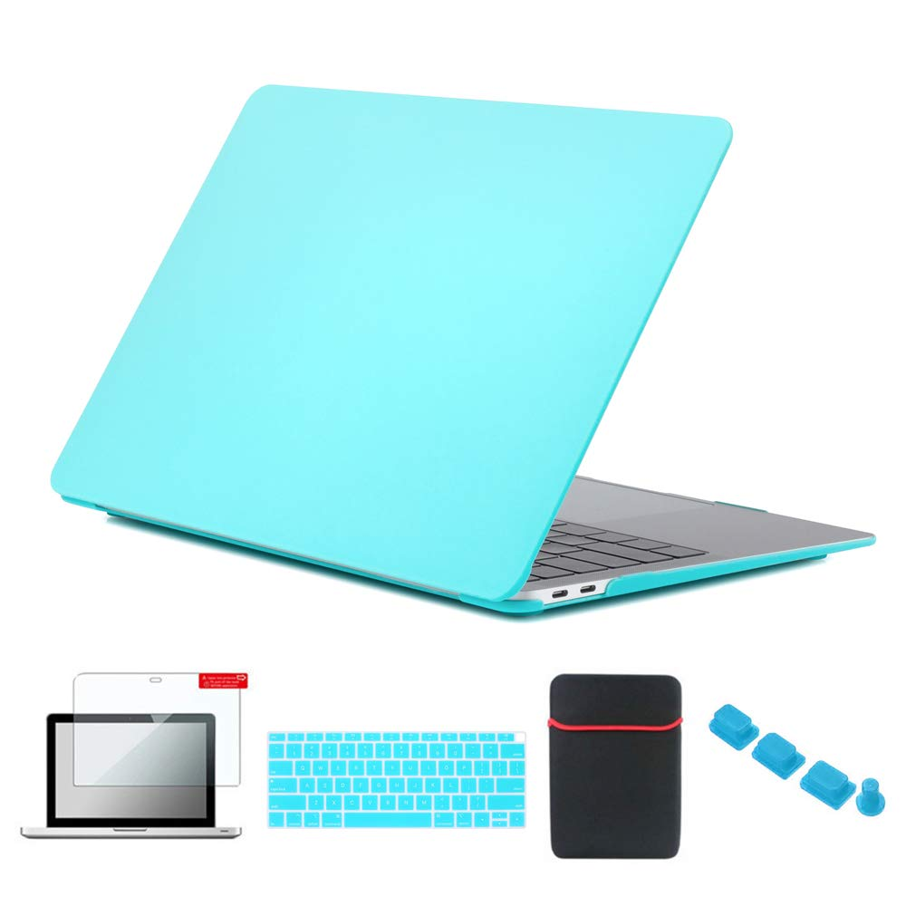 Se7enline A1932 MacBook Air 13 Inch Case Laptop Carrying Cover for MacBook Air 13-Inch with Retina Touch ID 2018/2019 New with Sleeve Bag, Keyboard Cover, Screen Protector, Dust Plug,Turquoise Blue
