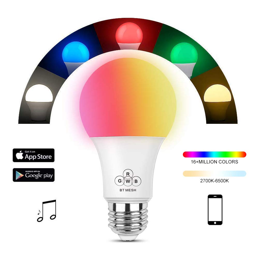 HaoDeng Bluetooth Mesh Smart Bulb, Group Control, No Hub Required, Suitable for Home Lighting, 40W Equivalent A19 E27 LED Light Lamp(Multicolor, Warm White)