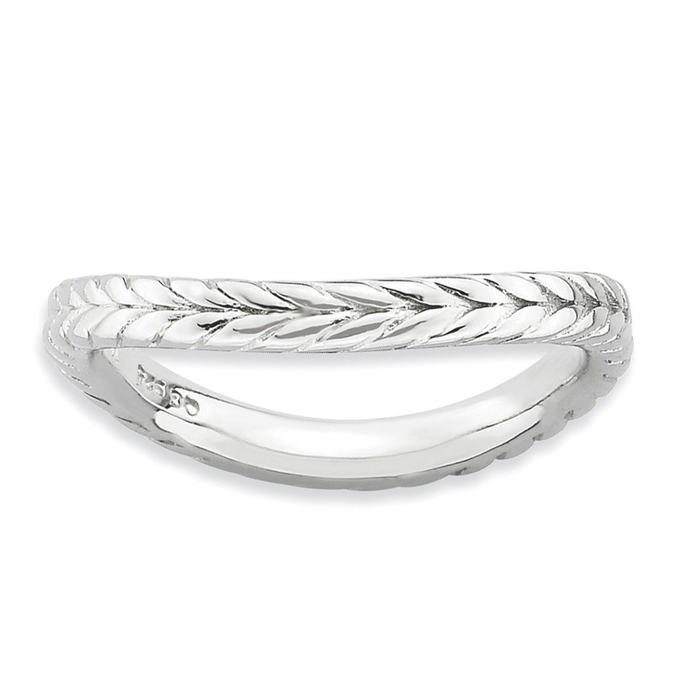 925 Sterling Silver Plate Wave Band Ring Stackable Curved Fine Jewelry For Women Gift Set