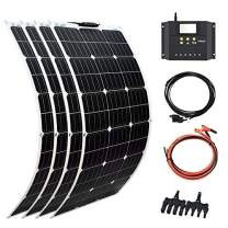 XINPUGUANG Solar Panel 4pcs 100W 12V 400W Flexible System Kits Battery Charger Monocrystalline Module 40A Charge Controller PV Connector Cable for Car RV Boat Cabin Trailer