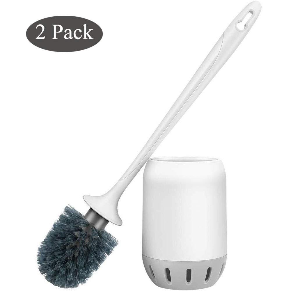 Glendan Toilet Brush and Holder Upgraded Modern Design with Kinsky Strong Bristles,Bathroom Toilet Bowl Cleaner Brush Set,Toilet Cleaning Brush Kit (Flooring-2 Pack)