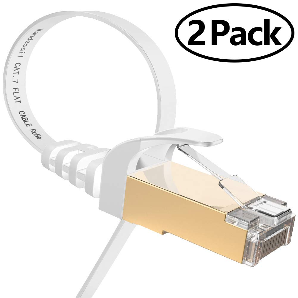 Ethernet Cable, VANDESAIL CAT7 Network Cable RJ45 High Speed STP LAN Cord Gigabit 10/100/1000Mbit/s Gold Plated Lead (3m/ 10ft, White-2pack)