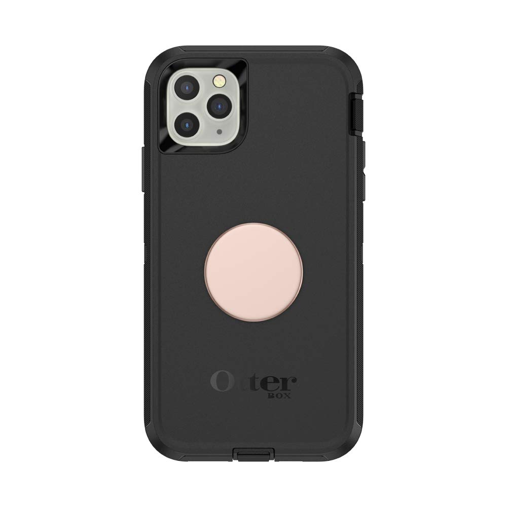Otter + Pop for iPhone 11 Pro Max: OtterBox Defender Series Case with PopSockets Swappable PopTop - Black and Aluminum Rose Gold