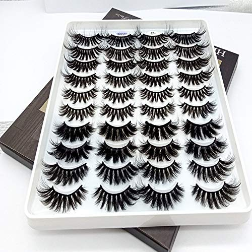 HBZGTLAD 20 Pairs 3D Soft Mink False Eyelashes Handmade Wispy Fluffy Long Mink Lashes Natural Eye Extension Makeup Kit Cilios (5X-A)