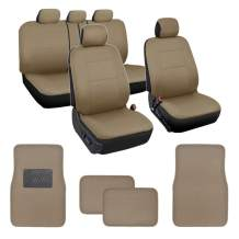 Simply Covered – Car Seat Covers Protectors Full Set Interior w/Secure-Grip Carpet Floor Mats for Car Auto (Beige)