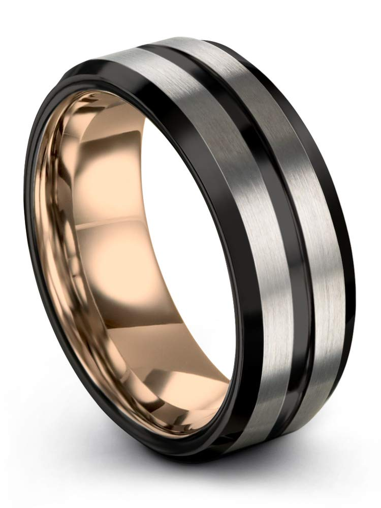 Tungsten 8mm Polished With Black Plated Edges Wedding Band
