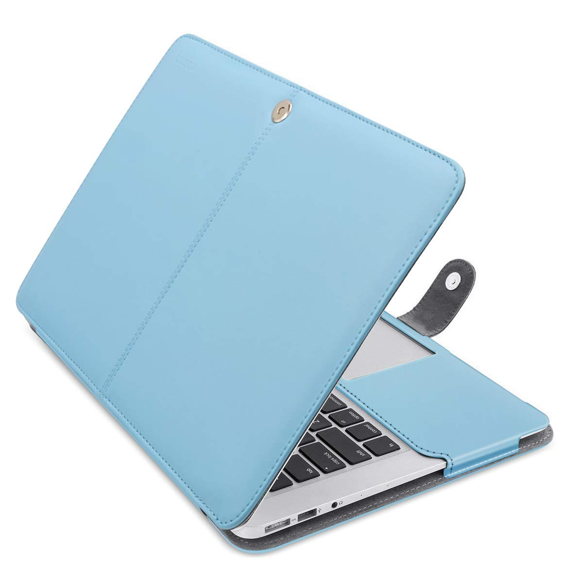 MOSISO MacBook Air 13 inch Case, Premium PU Leather Book Folio Protective Stand Cover Sleeve Compatible with MacBook Air 13 inch A1466 / A1369 (Older Version Release 2010-2017), Airy Blue
