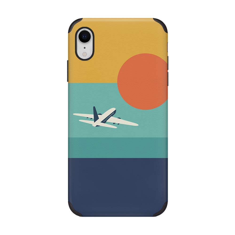 CUSTYPE iPhone XR Case, Print Sunset Pattern Case Soft Slim Leather Phone Case Compatible with iPhone XR Aircraft
