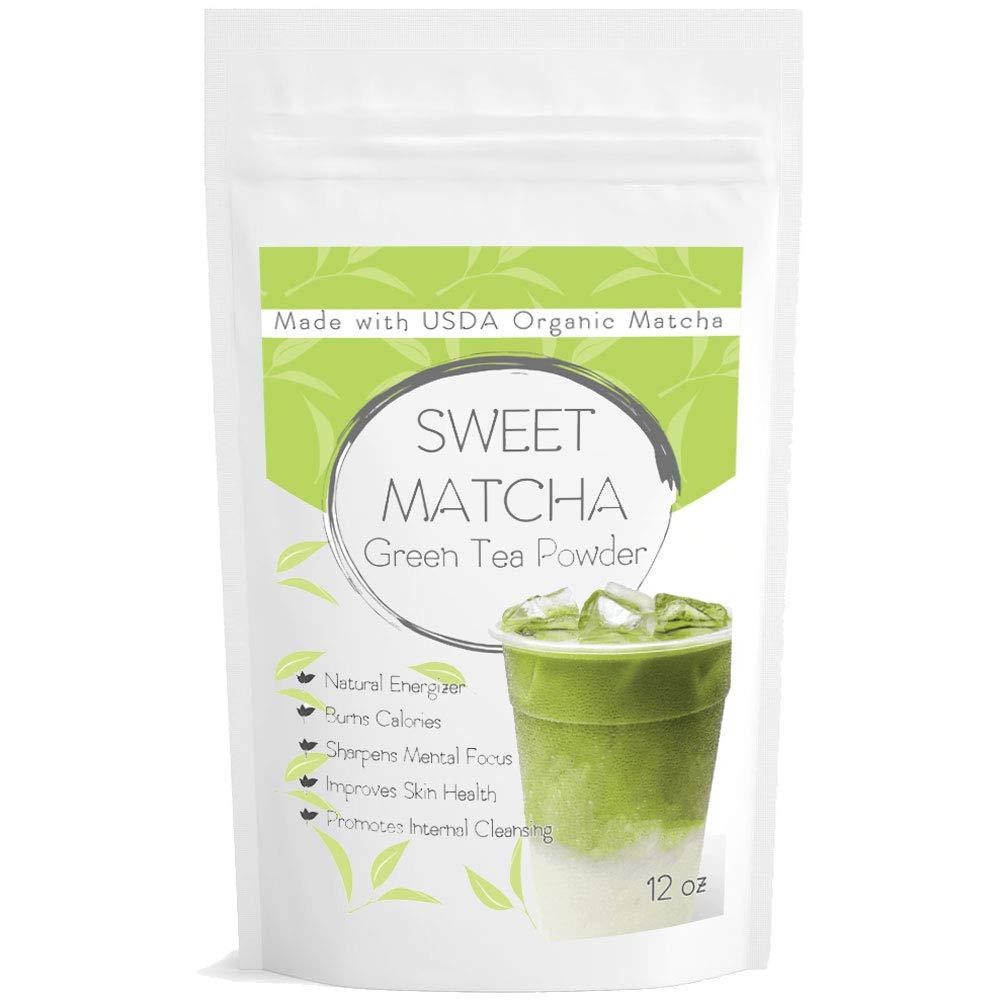 Japanese Sweet Matcha Green Tea Powder - Natural Mix with Organic Matcha 12oz