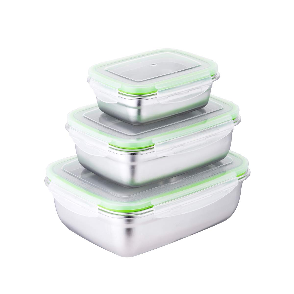 Stainless Steel Food Storage Container Set - Kacierr Eco-friendly Airtight Reuseable Snack Container Leakproof Nested Food Storage Box Set (3-pieces, Green)