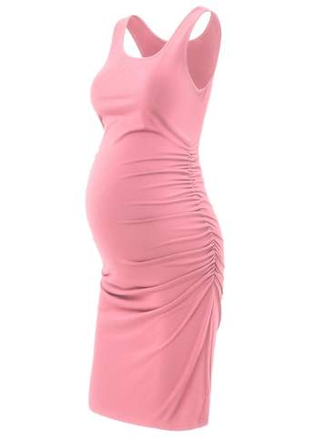 GINKANA Maternity Tank Dress Bodycon Sleeveless Casual Short Ruched Midi Fitted Dress for Pregnant Women