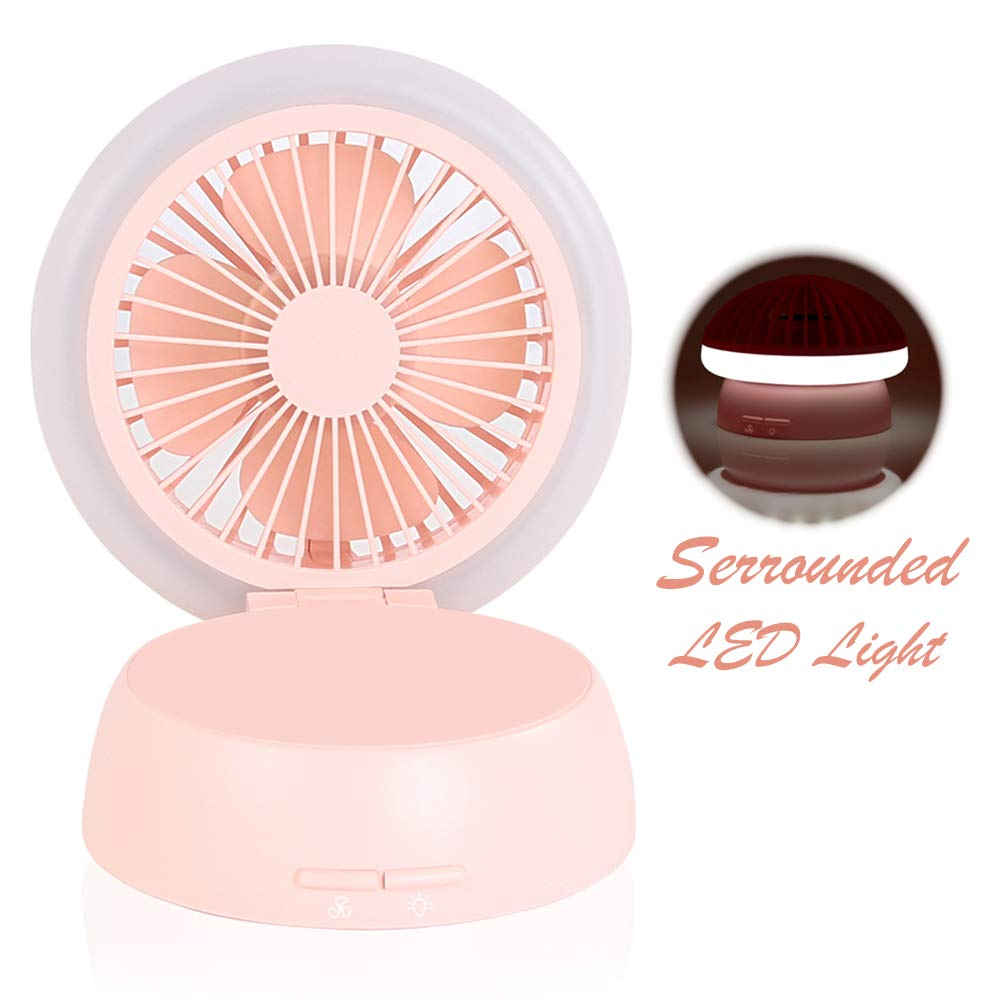 Desk Fan with 3 Adjustable Levels of Light and Wind Mode, Portable Small Quiet Cooling Fan for Personal Office Bedroom Kitchen Baby's Room (Pink)