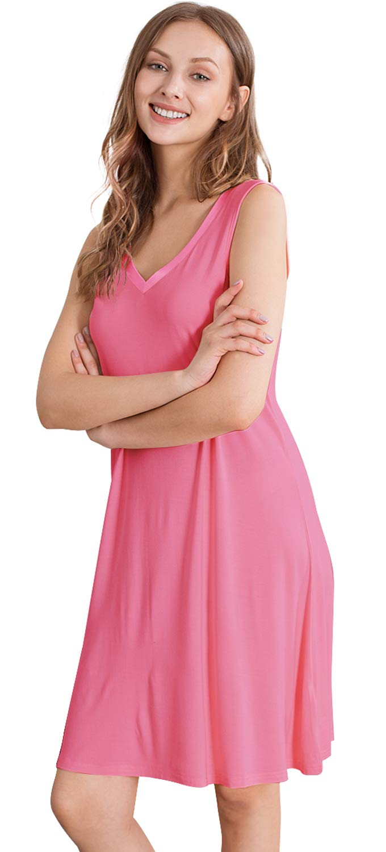 WiWi Women's Bamboo Pajamas Sleeveless Nightgowns Lightweight Sleepwear Plus Size Sleep Dress V Neck Sleepshirt S-4X