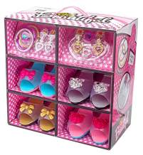 Shoes and Jewelry Boutique - Little Girl Princess Play Gift Set with 4 Pairs of Shoes, Collection of Earrings, Bracelets Rings - Great for Dress Up