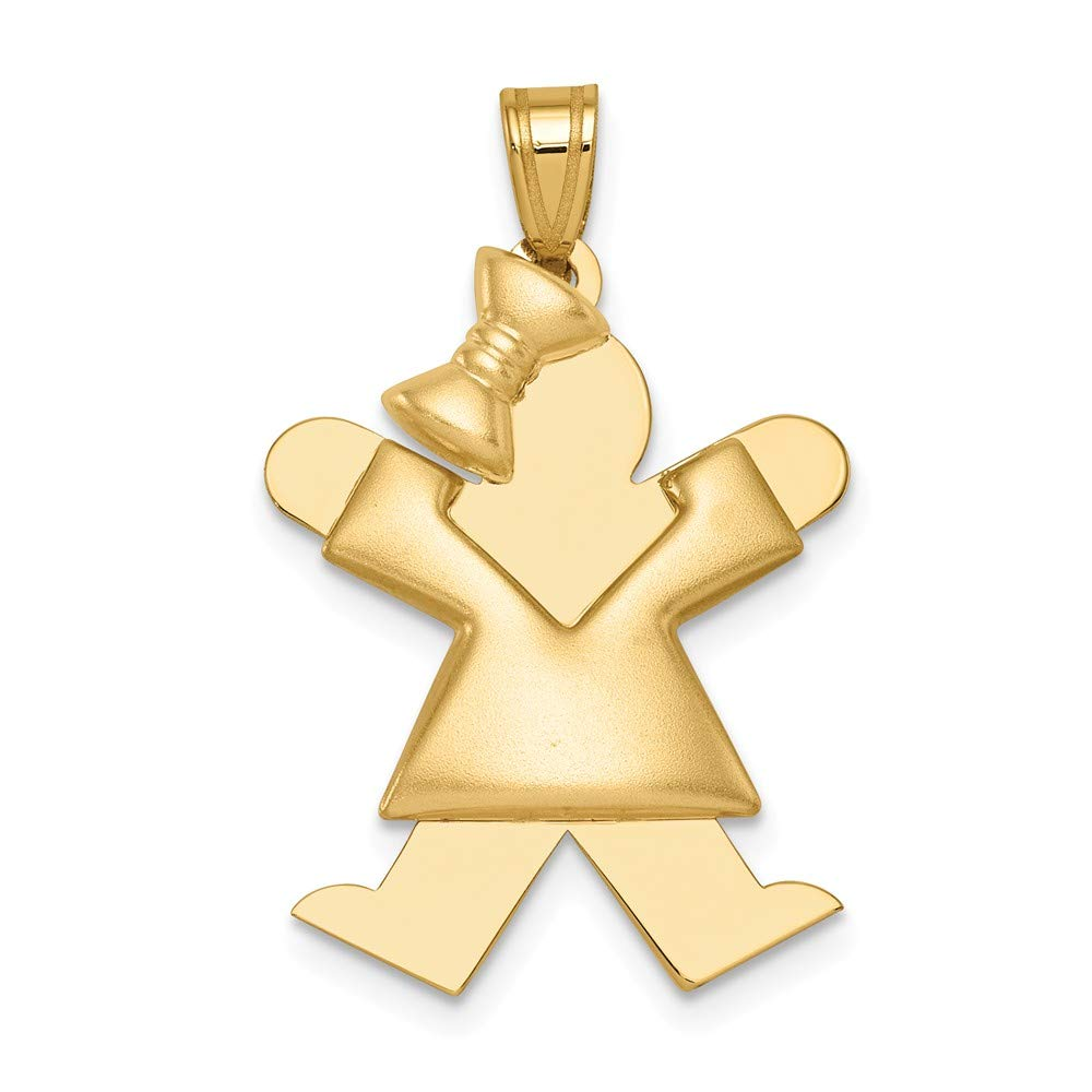 14k Yellow Gold Girl Bow On Left Engravable Pendant Charm Necklace Disc Facing Fine Jewelry For Women Gifts For Her