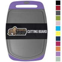 Gorilla Grip Original Oversized Cutting Board, Large Size, 16 Inch x 11.2 Inch, BPA Free, Juice Grooves, Thick Board, Easy Grip Handle, Dishwasher Safe, Non Porous, Kitchen, Professional, Purple Gray