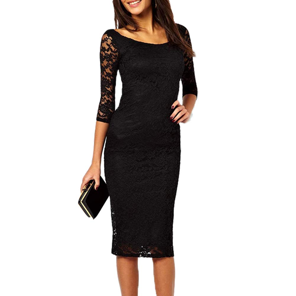 QIJOVO Women's 3/4 Sleeve Lace Elegant Cocktail Dress Crew Neck Knee Length for Party Cocktail Pencil Dress