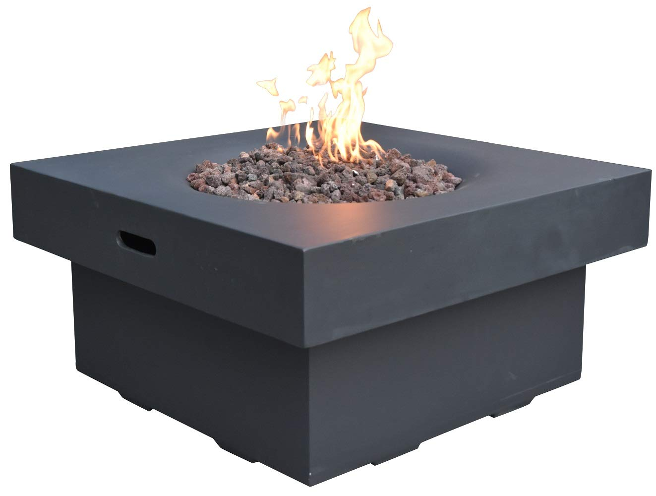 Modeno Brandford Outdoor Gas Firepit Table 34 Inches Natural Gas Fire Pit Patio Heater Concrete High Floor Firepits Outside Electronic Ignition Backyard Fireplace Cover Lava Rock Included