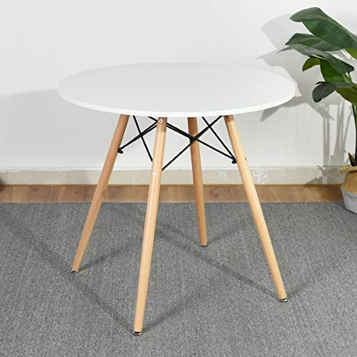 HOMY CASA Dining Table Round Coffee Table Mid Century Modern Kitchen Table Solid Wood Desk (White #Chad)