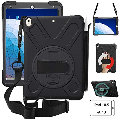 ZenRich iPad Pro 10.5 case 2017, iPad Air 3rd Gen Case 2019 with Attached Pencil Holder/Kickstand/Hand Strap/Shoulder Belt, Shockproof Heavy Duty Rugged Case for iPad 10.5 inch Tablet-Black