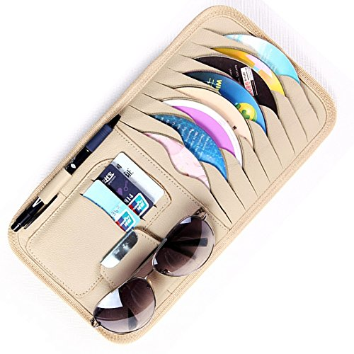 HitCar Car CD DVD Media Holder Disc Allbum Storage Case PU Leather Sunglasses Organizer Sun Visor Sunshade Sleeve Wallet Clips in Beige Color