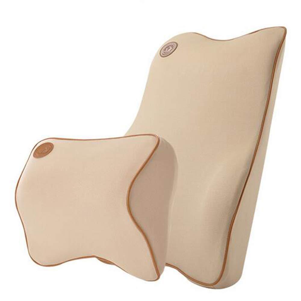 Ecloud Shop Lumbar Support Cushion for Car and Headrest Neck Pillow Kit - Ergonomically Design Universal Fit Major Car Seat (Beige)