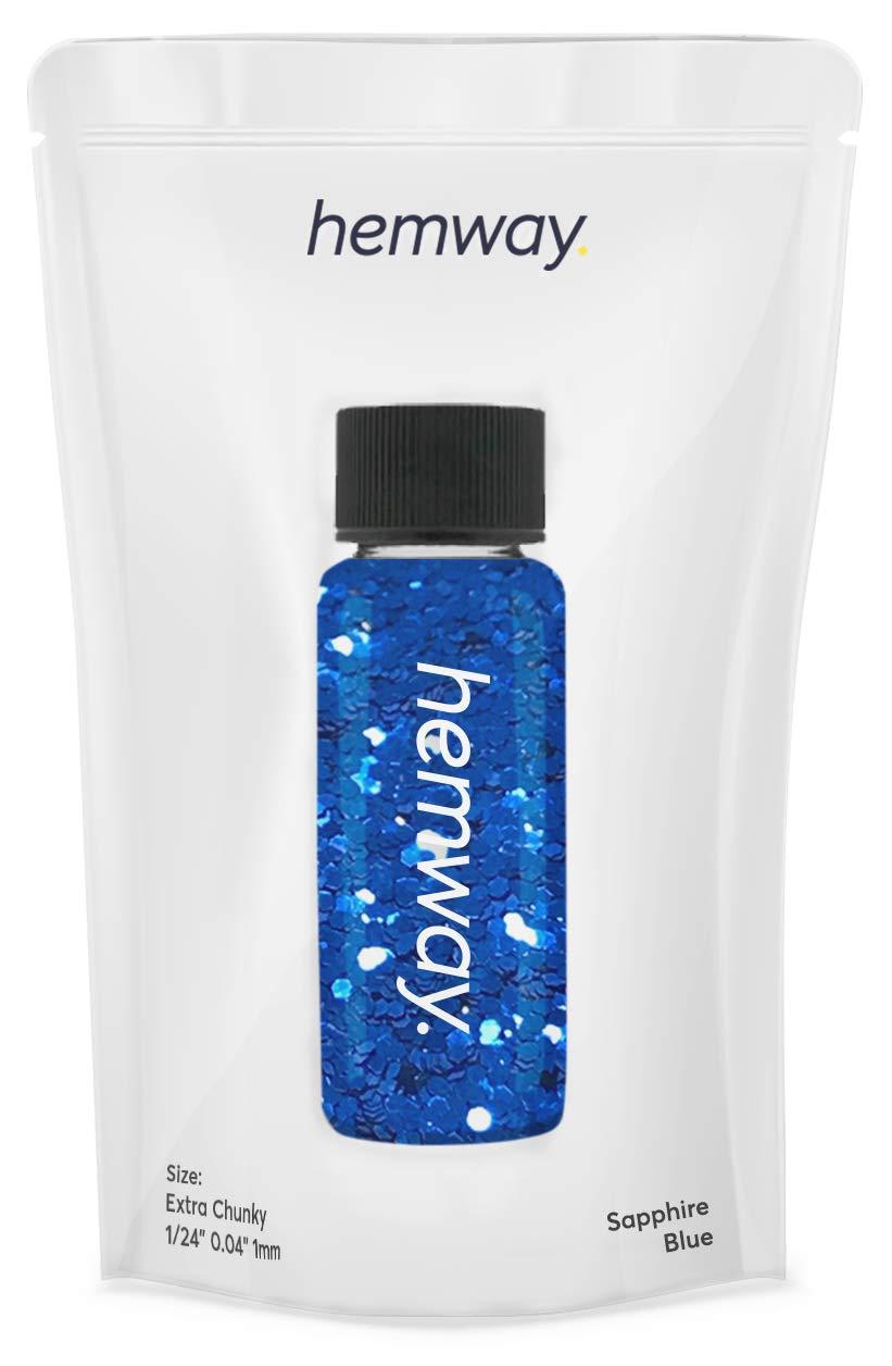 "Hemway Glitter Tube 12.8g / 0.45oz Extra Chunky 1/24"" 0.04"" 1MM Premium Sparkle Gel Nail Dust Art Powder Makeup Pigment Eyeshadow Face Body Eye Cosmetic Safe-(Sapphire Blue)"