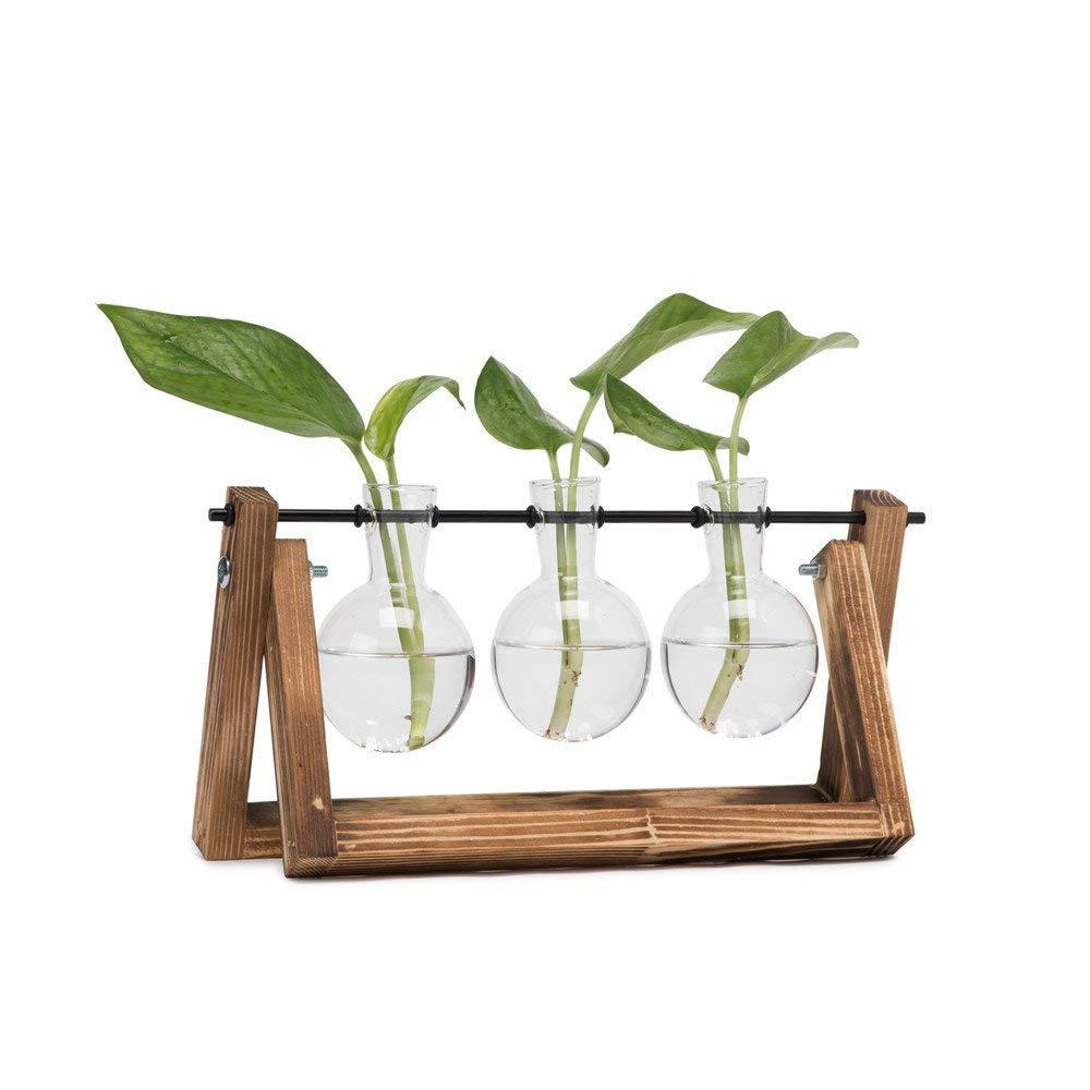 HYINDOOR Desktop Plant Terrarium Glass Planter Bulb Vase with Retro Solid Wooden Stand and Metal Swivel Holder for Hydroponics Plants Home Garden Wedding Decor