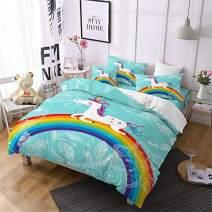 Jessy Home Duvet Cover 3 Piece Queen Size Rainbow Unicorn Quilt Cover Bedroom Decora for Girls Children Gift Cartoon 3D Cute Bedding Set Mint Green (2Pillow Cases)