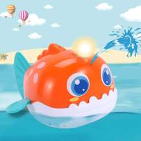 iPlay, iLearn Automatic Baby Bath Toy, Water Spray Squirt Bathtub Shower Toys W/ Light, Sea Animal Lantern Fish Float Bathtime Gift for 12, 18 Month 1, 2 Years Toddler, Infant, Kids, Boys, Girls