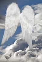 Baocicco 4x5ft Angel Backdrop Pure White Wings Photo Backdrop Blue Sky White Clouds Background Photography Background Birthday Party Baby Shower Baby Children Adults Portrait Studio Video Prop